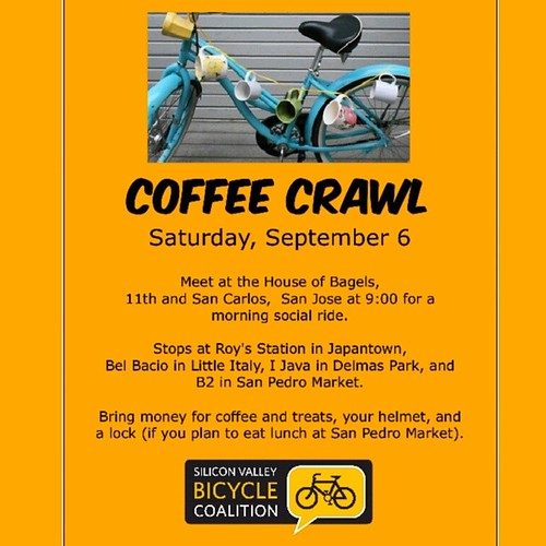 San Jose Coffee Crawl September 6 2014  #sanjose #cafe #cycling
