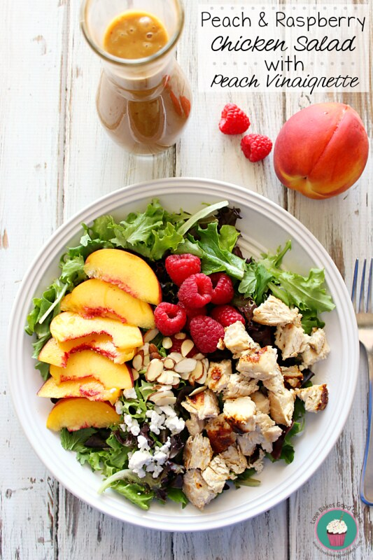Peach & Raspberry Chicken Salad on a plate with a fork.