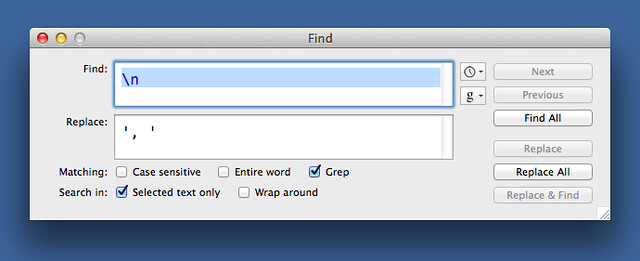 BBEdit replacement dialog
