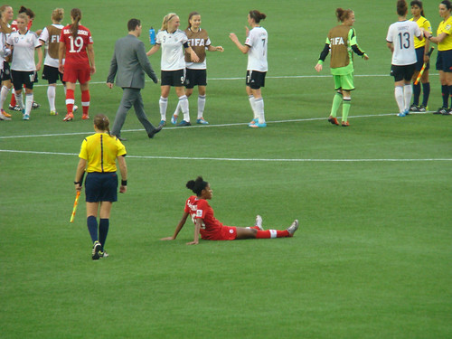 teambates posted a photo:	Ashley Lawrence sits despondent after Canada's loss.