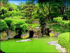 Japanese Garden. Waterfalls and Grotto