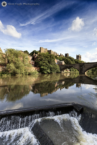 bridge blue plants white reflection tree clouds canon waterfall agua shadows durham cathedral north east sep cirrus copyright© silenteaglephotography silenteagle09