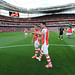 Alexis Sanchez and Mikel Arteta pre match at Emirates by Stuart MacFarlane