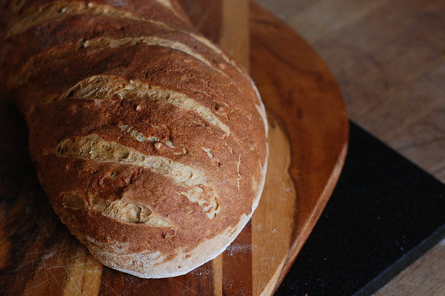 Bread with a slight crackle effect on the surface