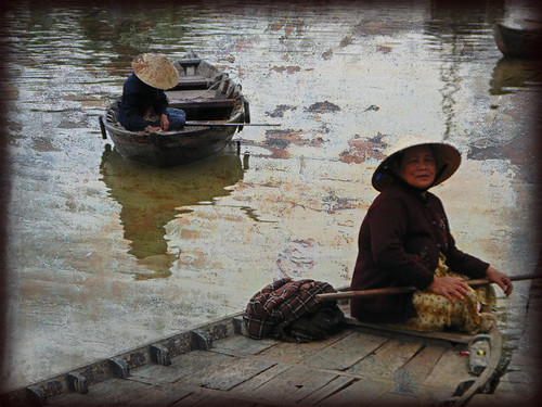 River Boats in Hoi An with Texture Overlay