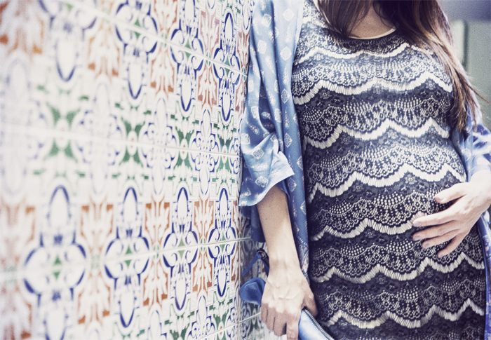 street style barbara crespo tiles kimono blue black dress fashion blogger outfit blog de moda