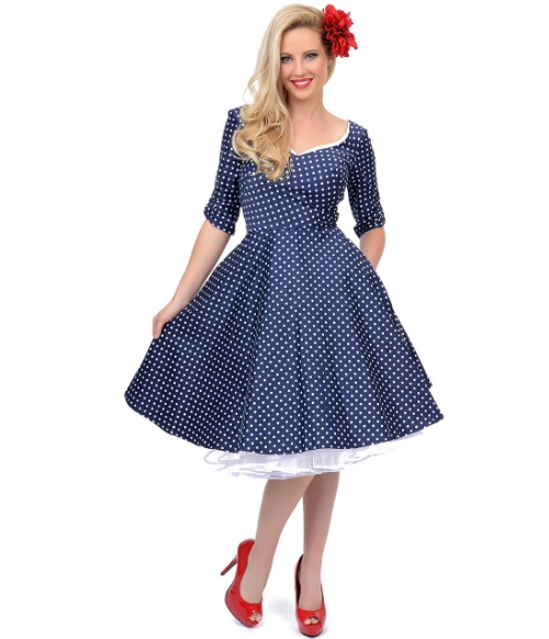 Unique Vintage Navy & White Polka Dot Sue Swing Dress