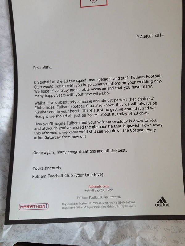 Fulham letter to fan