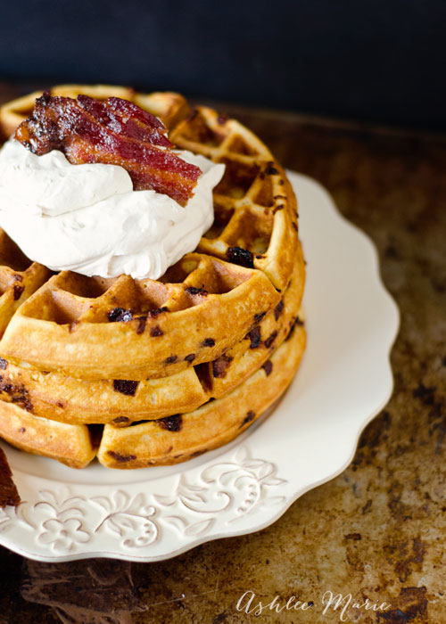 it doesn't get much better than waffles, add some candied bacon and maple whipped cream and breakfast just got better