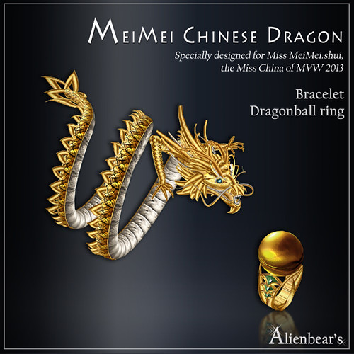 MeiMei Chinese Dragon Bracelet and ball Ring MVW