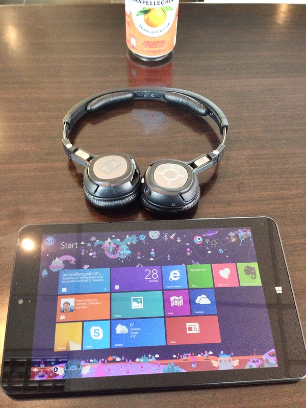 ThinkPad 8 Tablet listening to music through Bluetooth.