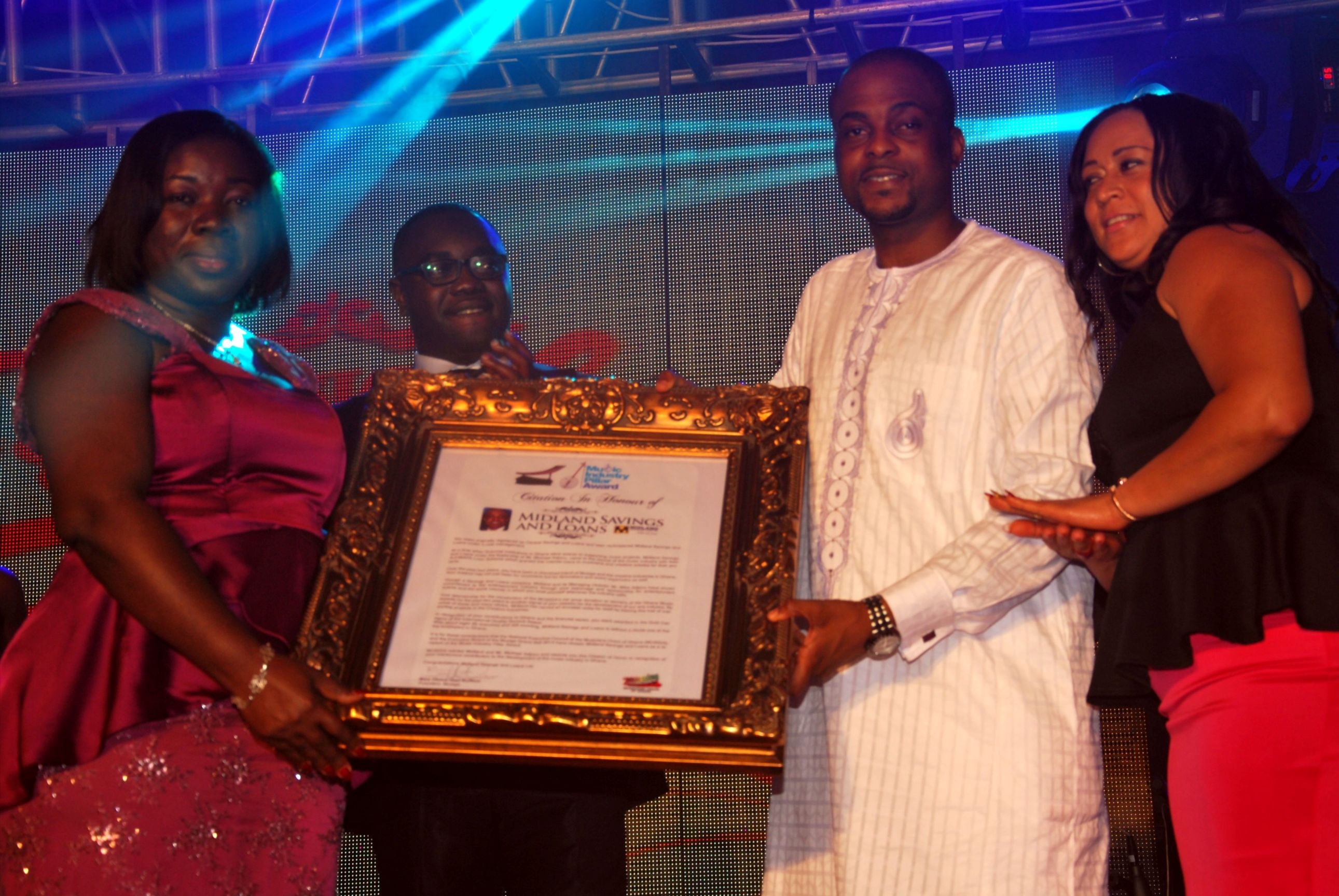 Midland receiving Music Pillar Award citation