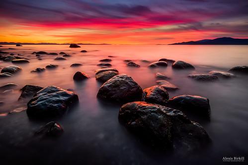 longexposure sunset seascape vancouver clouds landscape rocks ubc goldenhour acadiabeach