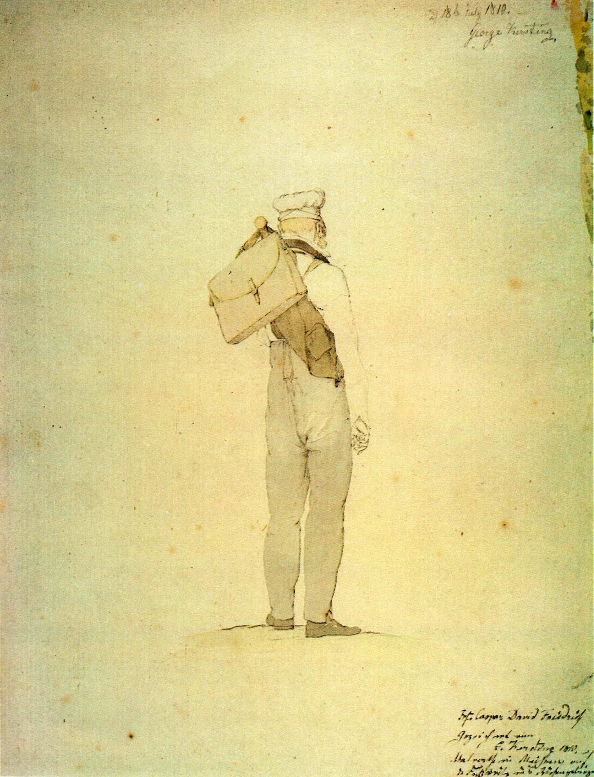 Georg Friedrich Kersting, Caspar David Friedrich auf der Wanderung ins Riesengebirge, 18. Juli 1810