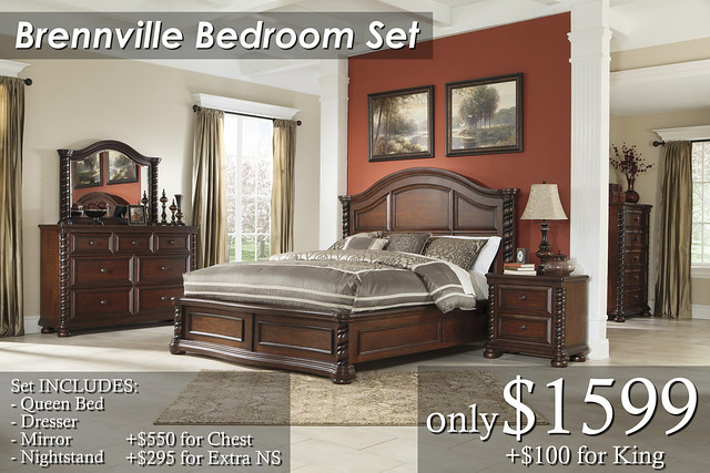 B667-Brennville Qn Set $1599 KG SET $1699 Chest $550 Extra Nightstand $295