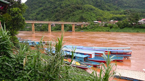2014 coolpix laos namou nikon nongkhiaw p300 river water bridge boat outdoor