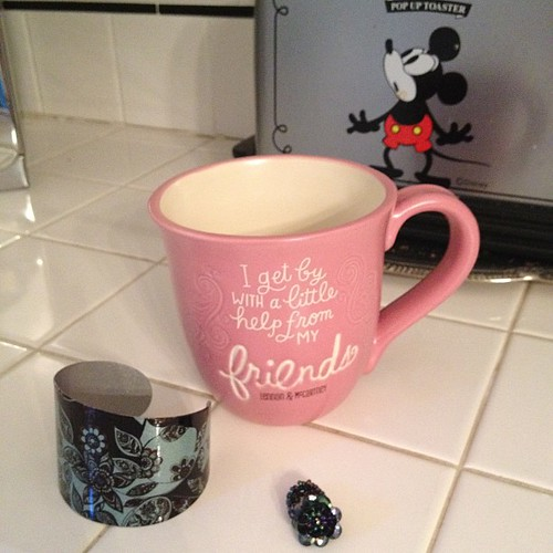 Bracelet, ring and mug from my friend, Renee #birthday