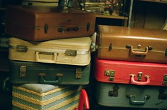 red, baggage, trunk, suitcase,