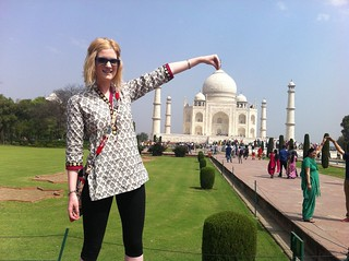 Rachel Hartley visiting the breathtaking Taj Mahal.