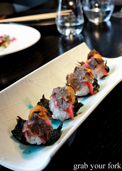 Chase toro toro bluefun tuna belly, white sea urchin and black truffle sushi at Sokyo at The Star, Pyrmont