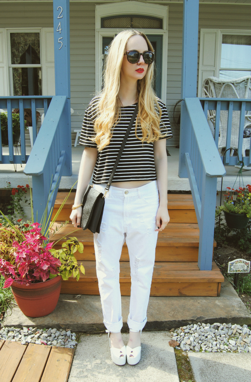 WhiteBoyfriendJeans_WildfoxJeffreyCampbellPlatforms_ChoiesStripeCropTop_FCUKBlackBag
