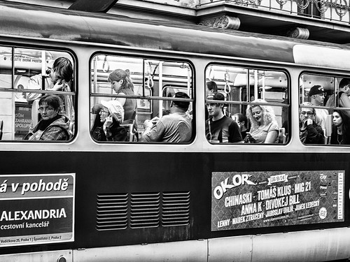 Prague streets: transports and faces