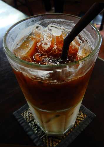 Iced Coffee near  a Bangkok Wat
