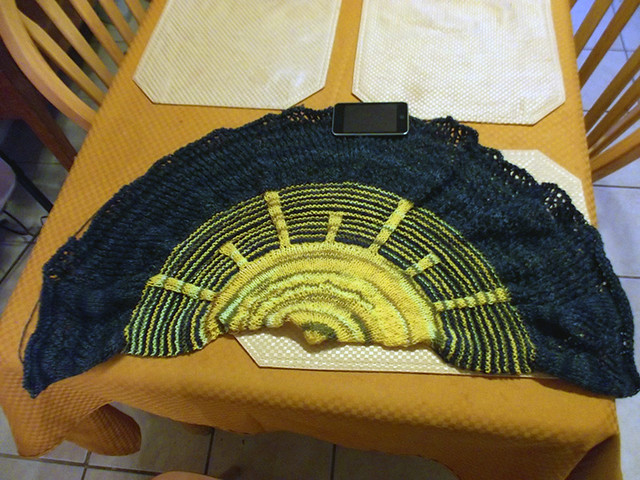Shawl before being blocked