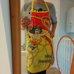 For those about to bake - a double super salute. (Though wonder woman has seen a few indelible kitchen battles already) #knightpatisserie