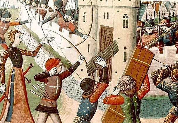 15th-century depiction of Joan of Arc leading an assault on an English fort during siege of Paris