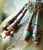 Funky and cool - rusted cones, Czech glass, turquoise stones. #earrings #tribalstyle #rusted #turquoise #czechglass #boldjewelry #boho #rustic
