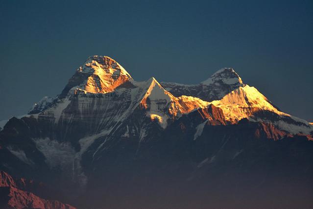 Mt Nandadevi awash with morning light.