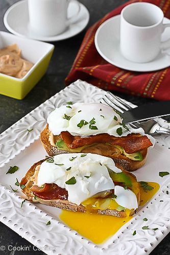Poached Egg on Toast with Chipotle Mayonnaise, Bacon & Avocado Recipe | cookincanuck.com #breakfast #brunch
