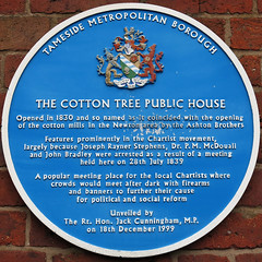 Photo of Joseph Rayner Stephens, P. M. McDouall, John Bradley, and Cotton Tree, Hyde blue plaque