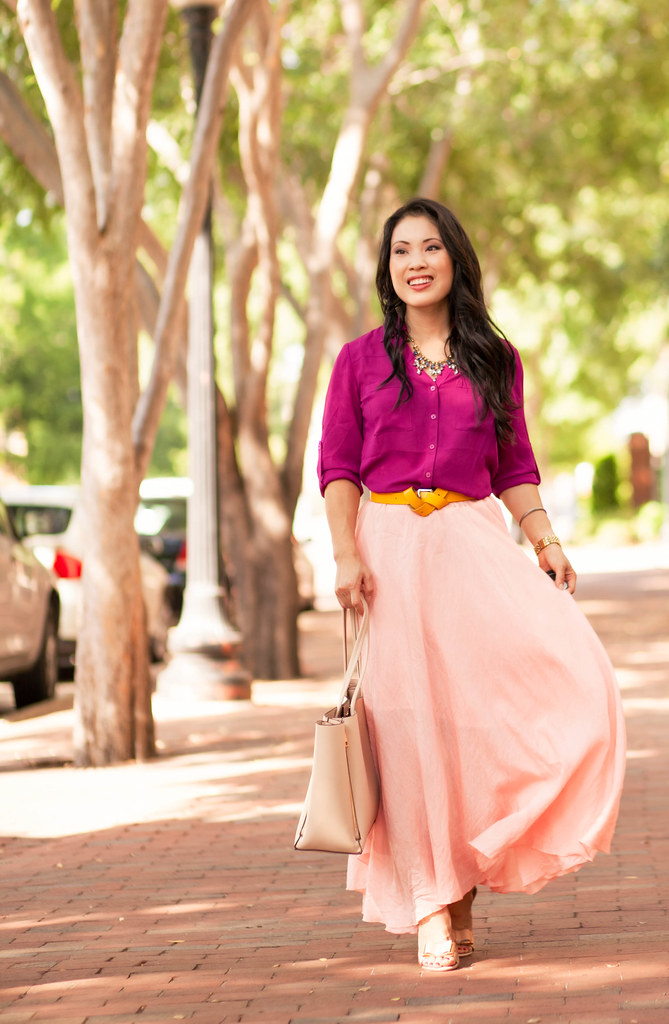 cute & little blog | petite fashion | radiant orchid shirt, pink ruffle maxi skirt, yellow double knot belt, bow sandal heels | spring outfit