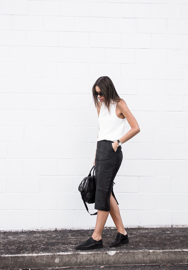 modern legacy blog street style off duty Camilla and Marc high neck white top ASOS leather pencil skirt Helmut Lang oxfords loafers monochrome minimalist Alexander Wang blogger what to wear to work (2 of 10)