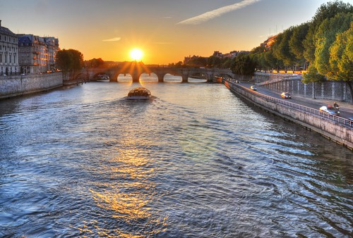 sunset paris france seine