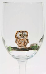 Hand painted wine glass baby owl