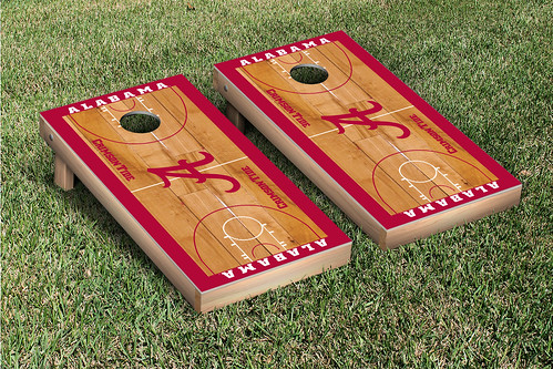 Alabama Basketball Court Cornhole Board