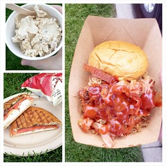 Food truck night in the 'hood. Clockwise from bottom left: Caprese Sandwich from Tasterie Truck, Sweet Action Mexican Coffee Ice Cream from White Whale, The Ultimate Porker from Still Smokin'.