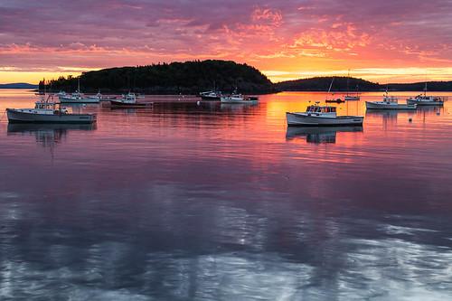 summer reflection me water sunrise boats dawn islands nationalpark colorful maine peaceful serene tranquil acadia barharbor mountdesertisle