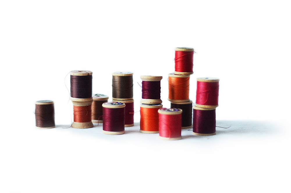 Fifteen Vintage Wooden Spools with Pink, Orange, Maroon, and Brown Thread: Bohemian Autumn Collection