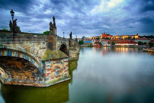old bridge history town day czech prague cloudy praha praga hdr łapiński