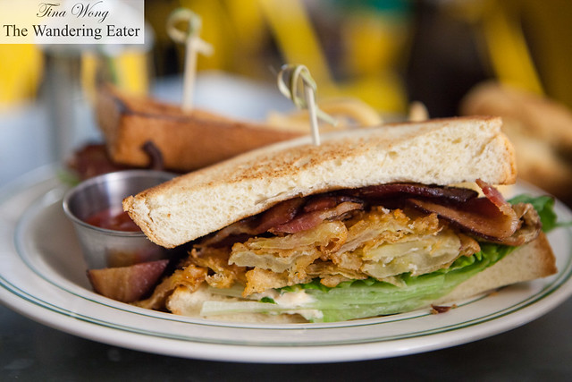 Fried green tomato, bacon, and lettuce sandwich