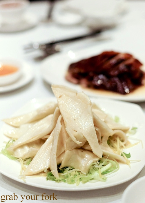Poached pigs aorta at Yung Kee, Central, Hong Kong