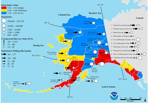 根據NOAA的研究,阿拉斯加州東南部和西南部的酸化風險最高。(來源:NOAA)