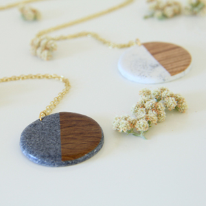 faux wood stone pendant necklace oven bake clay DIY plus giveaway