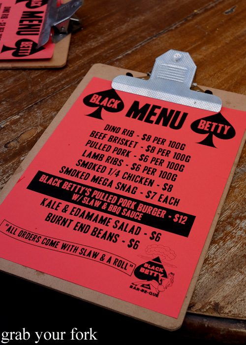 Black Betty menu at the Oxford Tavern, Petersham
