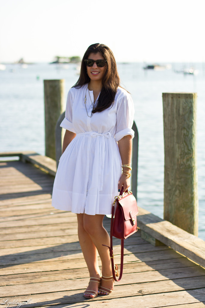 White shirt dress, red coach bag-2.jpg