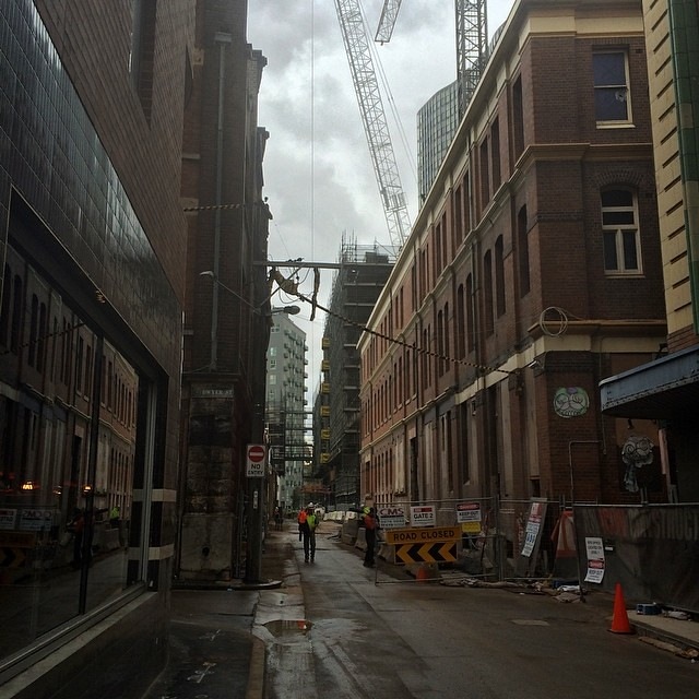 Construction site squeezed into Chippendale behind Central Park, Sydney